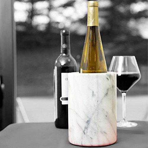 Marble Wine Bottle Cooler, Natural White Marble, 6 x 4-Inch Elegant Wine Bottle Chiller