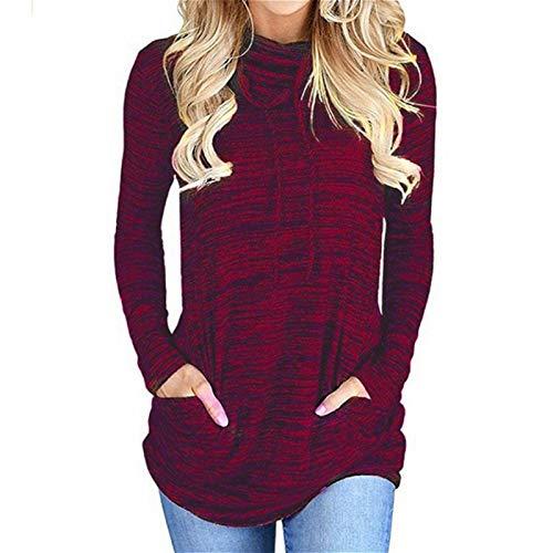 Frolada Suéteres Para Mujer Tops Sudaderas Con Cuello De Pila Suéter Informal Jersey De Manga Larga Mujeres Con Bolsillos Vino rojo METRO