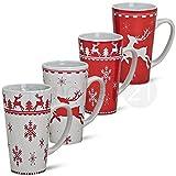 Jumbo Navidad tazas tazas Taza Juego de 4piezas rojo/blanco de cerámica fabricado por 14cm/450ml