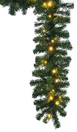 HI dennenguirlande buiten 270 cm - groene slinger met lichtketting (40x LED), kerstslinger met licht als kerstdecoratie buiten