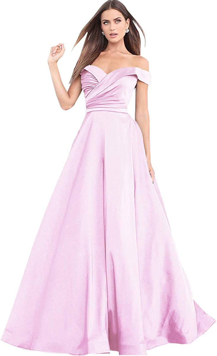 Zhongde Women's 爆買い送料無料 A 新作多数 Line Off The Dress Drapped Eve Satin Long Prom