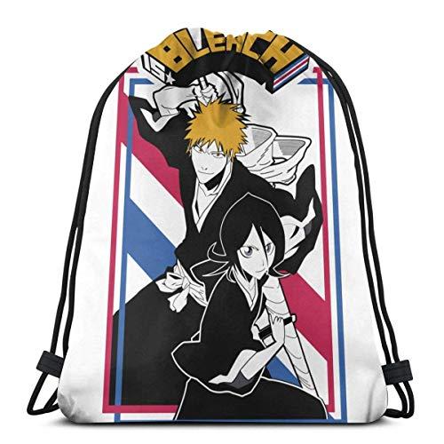 ANGSHI6 Drawstring Bag Kurosaki Ichigo Rukia Kuchiki Christmas Gifts Sacca Sportiva Borsa da Viaggio Borsa da Viaggio Zaino Sportivo Classico Unisex