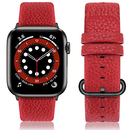 Fullmosa Cinturino per Apple Watch 42 mm/44 mm, Cinturino Pelle Compatibile con Apple Watch Serie SE 6 5 4 3 2 1, Sport, Nike+, Hermès, Edition, Rosso + Fibbia Grigia Fumé