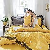 Bedding-LZ Funda de edredón 90,Agitada Agua Lavado Seda Lace Sound Four Suit Princess Wind Sirk Summer Size Supplies-K_Cama de 2.0m (4 Piezas) (Adecuada para el Conjunto de 220 × 240 cm)