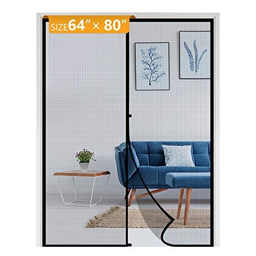 Yotache Magnetic Screen Door Fits Door Size 64 x 80, Strengthened Fiberglass Mosquito Net Curtain for Patio Sliding Door French Door Fit Doors Size Up to 64'W x 80'H Max