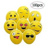 100 Piezas de Color Partido Globos de Fiesta para la Fiesta de Cumpleaños de la Boda - 12 inch de Látex Globos (100 Emoji Globos)