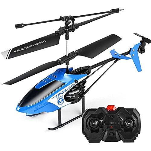 YIQIFEI Helicóptero de Control Remoto de Juguete para niños, Mini avión de policía RC con luz, helicóptero RC, avión Interior para Principiantes, Adulto Ch