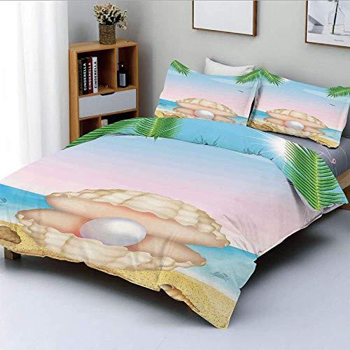 Juego de funda nórdica, perla con concha grande en trópico Playa de arena Rayos solares y árboles Impresión de criatura exótica Juego de cama decorativo de 3 piezas con 2 fundas de almohada, azul crem