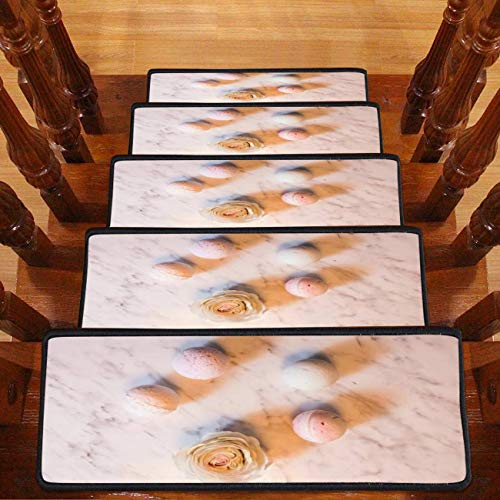 """Bath Bombs in Circle with one Rose Natural Bath Cosmetics for Best Carpet Stair Treads Safety Rug Resistant Indoor for Kids Self-Adhesive Step Non-Slip Stair Mats with Adhesive Tape- 30""""x8""""-13PCS"""