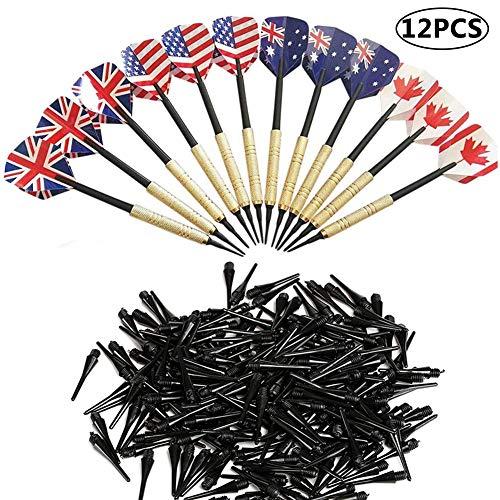 BETOY Dart 12 Stück Darts Pfeile Set Soft Darts Pfeile Dartpfeile mit kunststoffspitze mit Dartspitzen und Ersatz und 100 Darts Tips Verwendet für Wettbewerbe, lustige Spiele, 150mm