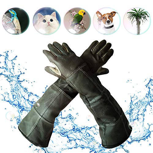 YBB Waterproof Animal Handling Gloves, Leather Anti-Scratch/Bite Long Sleeve Protective Gloves Pet Bathing, Feeding, Training Gloves for Dog Cat Bird Snake Parrot (Palm Width 3.15