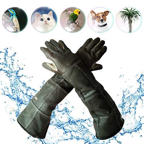 YBB ペットお手入れ手袋 ペット用咬合防止手袋 ペットグローブ セーフテ保護手袋 牛革 防水 ペットの入浴 引っ掻きや噛みつき防止 園芸作業 耐熱 厚手 磨耗に強い 全長60cm ランダムカラー (S)