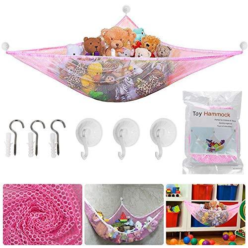 Spielzeug Hängematte, BESTZY Kinder Spielzeug Hängematte, Speichernetz für Kuscheltiere, Netz Stofftier Lagerung Net für Kuscheltiere Spielzeug 180 * 120 * 120 cm (Rosa)
