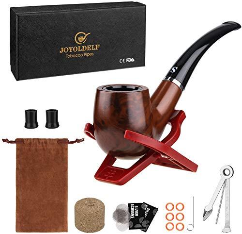Joyoldelf Pipa de tabaco, pipa de madera para fumar con soporte plegable para pipas, pantallas de tubos, puntas de pipa y herramienta de limpieza de pipas con caja de regalo