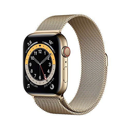 AppleWatch Series6 (GPS+ Cellular, 44mm) Edelstahlgehäuse Gold, Milanaise Armband Gold