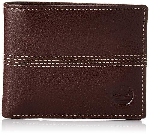 Timberland Herren Leather Passcase Wallet Sportz, Quad, Portemonnaie aus Leder, Braun (Vierfachstich), Einheitsgröße