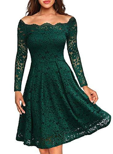 Miusol Vintage Encaje Floral Coctel Vestido Corta para Mujer Verde Large