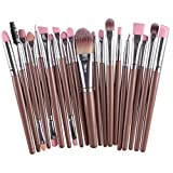 Make Up Brush Set 20 Pcs Makeup Brush Tools Artificial Fur Make-up Toiletry Meyerlbama (S, Gold)
