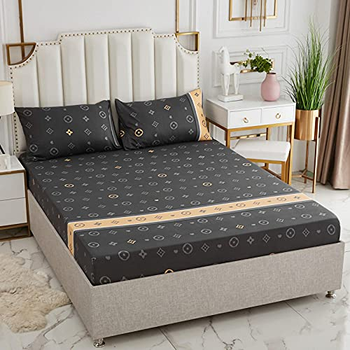 Nuoxuan Sábana Bajera Ajustable,Hojas Impresas cepilladas, Dormitorio Individual y Doble tamaño King en apartamento de Hombre y Mujer-Negro 1_120x200cm + 25cm