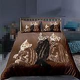 Juego de ropa de cama 3D lindo gato estampado funda de edredón divertido animal edredón funda almohada cama king size