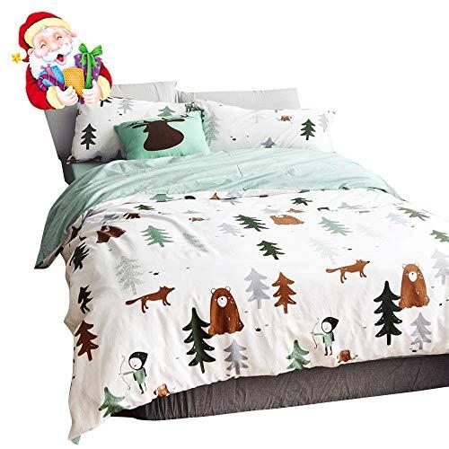 BuLuTu Siberia Forest Theme Boys Duvet Cover Twin Cotton Darker White,Cartoon Duvet Cover Set Kids,3 Pieces Bedding Collection Set(1 Duvet Cover + 2 Pillowcases) for US Single Bed,No Comforter