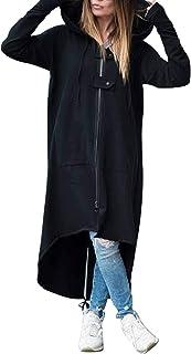 Pullover Lungo Donna Felpa Cappuccio Collo Alto con Zip Oversize Sweatshirt Maniche Lunghe Vestito Felpe Tumblr Ragazza In...
