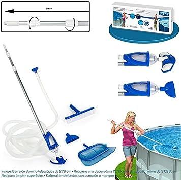 Legnagoferr-Kit para limpieza de piscinas Deluxe Intex 28003 con mango, red, limpiador, cepillo y tubo flexible de 7,5metros