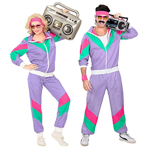 Widmann 98793 - Kostüm 80er Jahre Trainingsanzug, Jacke und Hose, angenehmer Tragekomfort, Assi Anzug, Proll Anzug, Retro Style, Bad Taste Party, 80ties, Karneval