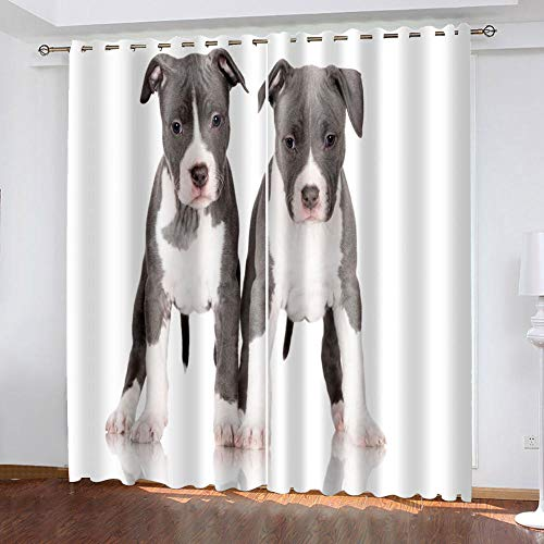 HJKGSX Blackout Thermal Insulated Eyelet Curtains Thermal Insulated Super Soft Solid Eyelets Window Treatments Blackout Curtain for Bedroom & Nursery Two puppies 29.53 x 65.35 inch x 2