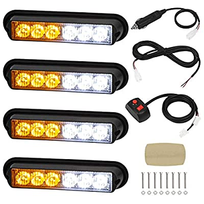 Linkitom 4 in 1 Surface Mount Grill Light Head, Sync Feature LED Car Truck Emergency Beacon Warning Hazard Flash Strobe Light with 16 Different Flashing,12/24V (6 LED Amber White)