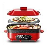 X-LSWAB Eléctrica Olla de cocción Lenta 5.5L 4-5 Personas Multibarbecue Cocina la Cacerola Antiadherente de Cocina de Gran tamaño Profundizar con Vapor Rejilla Adecuado for la Familia de Cocina Cena