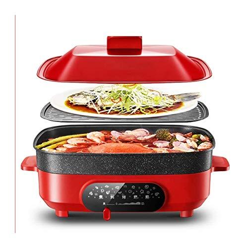 X-LSWAB Elektro Slow Cooker 5.5L 4-5 Personen Multibarbecue Kochtopf Non-Stick Pan Herd Large Size mit gedämpftem Grid Vertiefen Geeignet for Familien Küche Abendessen (Color : A)