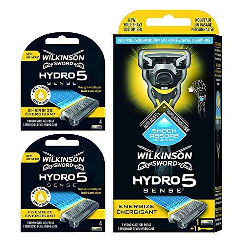 Wilkinson Sword - Maquinilla de Afeitar Hydro 5 Sense Energize + 8 Recambios de Cuchillas de Afeitar, Menta Energizante - Maquina de afeitar de 5 cuchillas con amortiguador Shock Absorb