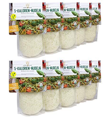 10er Packung | 5-Kalorien-Nudeln 250g | Algen Nudeln | Glutenfrei & Vegan | Low Carb | Schultz und König
