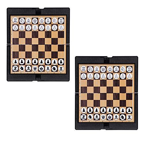 Juego de Billetera de ajedrez Plegable magnética de Viaje de 2 Piezas, Ajedrez portátil de tamaño Viaje, Compacto Educativo y liviano, para el hogar de la Escuela