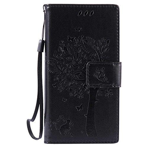 THRION Sony Xperia Z5 Compact Hülle, PU Cat und Baum Brieftaschenetui mit magnetischer Handschlaufe und Ständerhalterung für Sony Xperia Z5 Compact, Schwarz