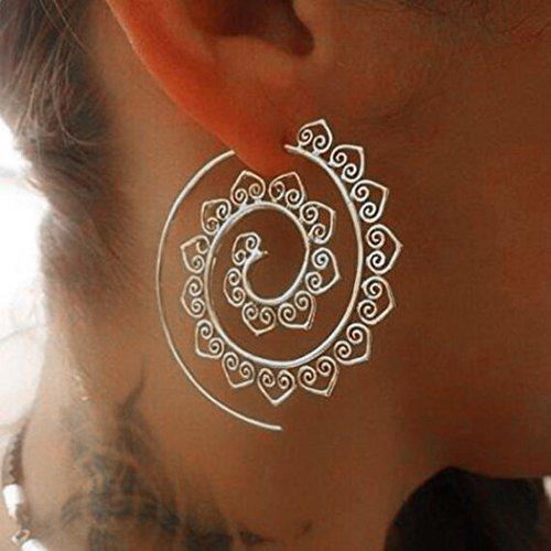 Jovono Ohrringe im Bohemian-Sil, übertriebene Spiralen-Ohrringe für Frauen und Mädchen (Silber)