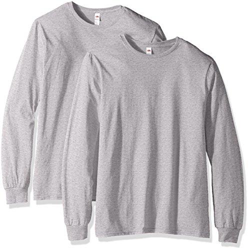 Fruit of the Loom Camisetas de algodón ligero para hombre (manga corta y larga), Manga larga, paquete de 2, gris jaspeado, L