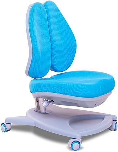 QFFL jiaozhengyi Korrekturstuhl Rückenlehne Liftable Haltungskorrektur Stuhl Positive Double Zurück Drehstuhl Kinder Schreibtisch Hocker Lernen Stuhl Korrekturstuhl 2 Farben Optional (Farbe   Blau)