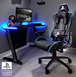X-Rocker Silla ergonómica para Juegos, Amarok Playstation, con reposabrazos 3D e iluminación LED, giratoria y Regulable en Altura hasta 120 kg, 86 x 70 x 33 cm