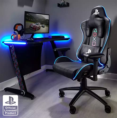 X Rocker Amarok Playstation - Silla de oficina ergonómica con reposabrazos 3D e iluminación LED, giratoria y regulable en altura hasta 120 kg