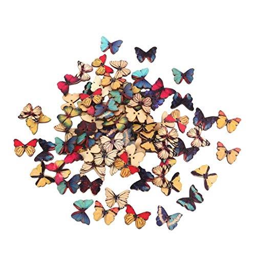 50pcs 2 fori di figura della farfalla tasti di legno chic per fai da te cucito fabbricazione dei monili