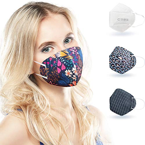 ALB Stoffe® CoverMe - 3 Cover HeiQ-Viroblock mit Halbmaske, MIX 1, 100% Made in Germany, Nasen-Mund-Masken, 3+1er Pack