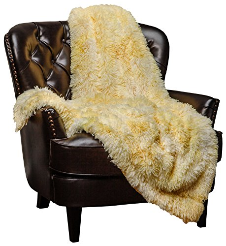 Chanasya Fuzzy Shaggy Faux Fur Throw Blanket - Plush Lightweight Reversible Sherpa Blanket for Couch, Home, Living Room, and Bedroom Décor (50x65 Inches) Yellow