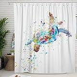 Adecuado Sea Turtle Shower Curtain Set Colorful Ocean Animal Bath Curtain with Hooks Coastal Shower Room Decor White Polyester Waterproof Bathroom Accessories Modern Home Decoration 72x72 Inch