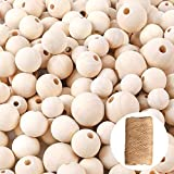 wood badge beads - ALEXCRAFT 400PCS Unfinished Wood Beads Natural Round Wooden Spacer Beads with 164 Feet Jute Twine for DIY Jewelry Making(16mm, 20mm, 25mm)