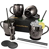 Moscow Mule Mugs Set of 4, Gift Set Black Mule Mugs Pure Solid Hammered Stainless Steel Mule Mug for Drinking, 16OZ Food Safe 100% Handcrafted Moscow Mule Kit