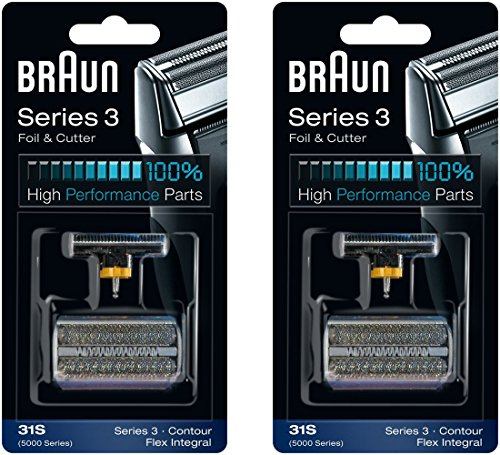 Braun 31S Serie 5000/6000 Contour Flex XP integraler Scherfolie & Cutter Head Ersatz Combi Pack, 2 Graf
