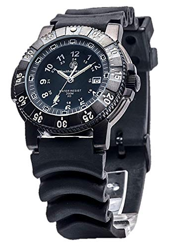 Smith & Wesson 357 Series Diver Swiss Tritium H3 Mens Watch (Relojes de Hombre), Waterproof Tactical Military Watch with Sturdy Rubber Band Strap with precision quartz and Thailand movement