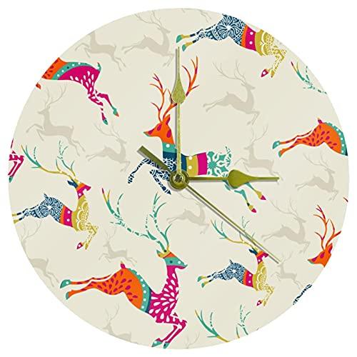 Yoliveya Reloj de pared redondo silencioso vintage de Navidad con diseño de ciervos y alces decorativos para regalo en casa, oficina, cocina, guardería, sala de estar, dormitorio, 25 cm